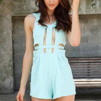 Blue Playsuit with Geometric Cutout Detail & Back Zipper