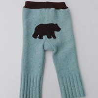 Upcycled Lambswool Pants Longies with Bear Applique, 3-6 mos.