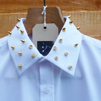 Gold Spike Studded Collar White/Black by NiceReworkedVintage