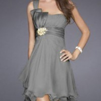 A-line Mini-length One-shoulder Light Grey Promdress102048 Bowknot Applique Layered