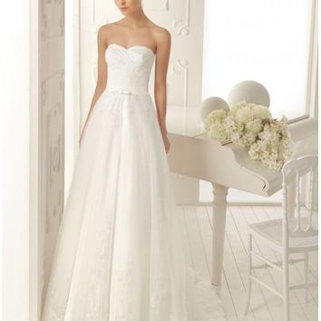 Beautiful Lace Sweetheart Neckline A-Line Wedding Dress with Bow Waistband Online Shop - wedding dresses sale