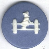 Kate Greenaway MISS PATTY button vintage ceramic button