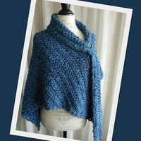 Hand Crocheted Shawl in Rich Blues - Handmade Ladies Wrap