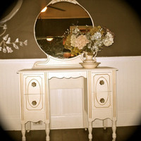 Romantic Shabby Chic Vanity with Mirror by nookandcrannycompany