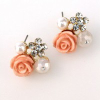 Pink Rosebud Cluster Earrings