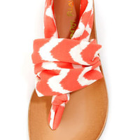 Dirty Laundry Beka 2 Coral Zigzag Stretch Thong Sandals