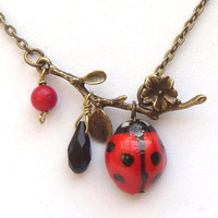 Antiqued Brass Branch Coral Quartz  Porcelain ladybug necklace by gemandmetal