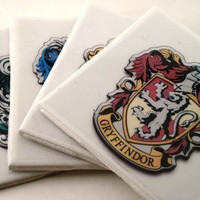 Harry Potter Hogwarts House Crests Ceramic Tile by coasterstore
