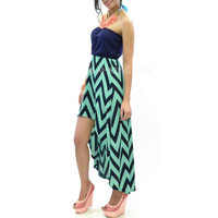 Steal My Heart Mint Chevron Hi Low Dress