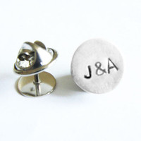 Initial Tie Tack Monogram Lapel Pin Personalized Custom Accessory Gift for Groom Man Father Dad Groomsman  tux studs