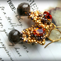 Antique gold look beaded gemstone and gold earrings, Fiery Citrine swarovski, Smokey Quartz  gold earrings - Earth and Fire