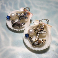 Seashell Anchor Earrings Nautical by DelsShells on Etsy