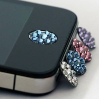 one piece blue Bling Rhinestone iPhone Home Button Sticker in clear plastic bag