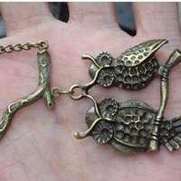 retro two owls and tree branch necklace-antique brass