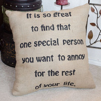 Wedding Engagement Humorous Funny Burlap PIllow  by sherisewsweet