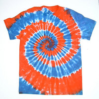 blue and orange tie dye shirt