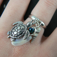 sea turtle and shell ring sea turtle charm seashell  in beach hipster boho gypsy hippie and fantasy style