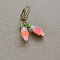 Peridot and Peach Estate Earrings, Vintage Leaf Glass Rhinestone, Antiqued Brass, Lever Back Earrings, Bridesmaids