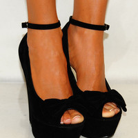 LADIES SUMMER BLACK BOW SUEDE PEEP TOES SLING BACK WEDGES HIGH HEELS SHOES 3-8