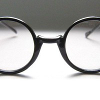 80's Round Black Eyeglass Frames Vintage by BackThennishVintage