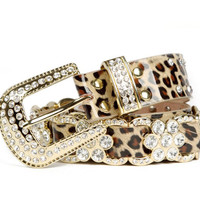Leather diamond Leopard grain belt