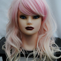 ON SALE // STRAWBERRY Cupcake wig // Pastel Ombre // Pink Blonde Hair // Long Wavy Sweet Lolita wig