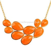 Orange Bubble Jewelry,Drop Shape Necklace, Orange Necklace, Cluster Necklace (Fn0564-Orange)