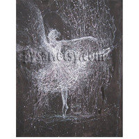 "Ballerina Print - Ballerina Painting Print - Stretched Canvas Art - Black Dancer Print 20x25cm / 7.9""x 9.8"