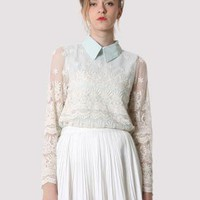 Crochet Lace Peter Pan Collar Top S010481