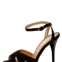 Cherry 2 Black Ruched Strappy Platform Dress Sandals
