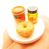 Food Ring Bagel Peanut Butter  Jam Miniature by SouZouCreations