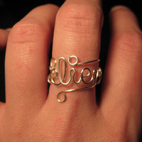 Wire Wrapped BELIEVE Spelled Adjustable Ring MADE to ORDER