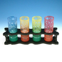 Bubbling Arrows Shooter Glasses & Display Rack by Woodeye Glass