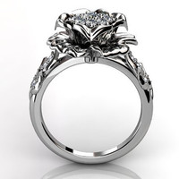 14k white gold diamond unusual unique cluster floral engagement ring, bridal ring, wedding ring ER-1053-1