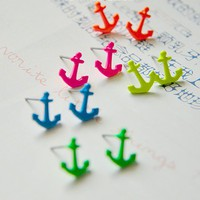 Blue Color Anchor Pattern Earrings [1330]