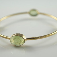 Green Quartz Bangle Bracelet Bangle by BellissimoJewelry on Etsy