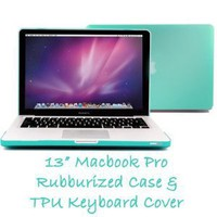 Frosted See-Thru Hard Case (Color in Tiffany Blue) for Macbook Pro 13 inches with TPU Transparent Protective Keyboard Cover