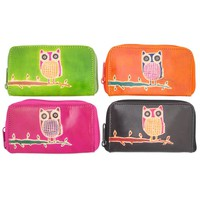 Leather Owl Zipper Wallet