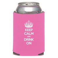 "Liquid Courage Flasks: ""Keep Calm And Drink On"" - Pink Can Koozie"