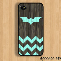 IPHONE 5 CASE Mint chevron Batman Logo on dark wood background iPhone 4 case iPhone 4S case iPhone case Hard Plastic Case Soft Rubber Case