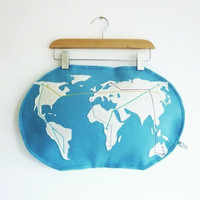 Metro world map pillow felt pillow made to by atelierpompadour
