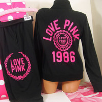 Victoria&#x27;s Secret M/S set~Love Pink~ Zip-Front pullover sweat &amp; Campus Crop pant