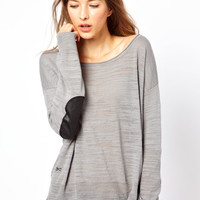 Denham Fine Knit Jumper With Elbow Patches