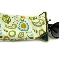Sunglass Case - 100% cotton fabric - Beige with Green Paisley  - Antique Bronze Frame