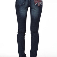 Britt Low-Rise Union Jack Pocket Skinny Jean
