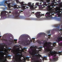 Long Amethyst Necklace and Earrings