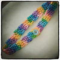 Resizable Crocheted spring pastel rainbow headband with button