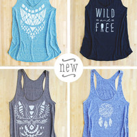 Wild and Free Racerback Tank in triblend black blue tan american apparel screen printed eco-friendly water based inks tribal geometric print