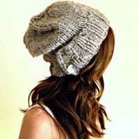 The Salt City. knit slouch hat in gray marble chunky knit winter hat