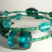 Blue And Green Glass Bead Bracelet